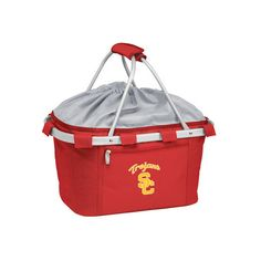 Picnic Time Metro Basket USC Trojans Print (62 CAD) ❤ liked on Polyvore featuring home, kitchen & dining, food storage containers, red, picnic hamper, pic nic basket, collapsible food storage containers, picnic baskets and red basket