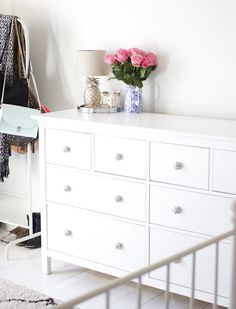 This is an IKEA chest of drawers. Transformed by better handles.