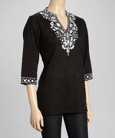 df1ac5be48d La Cera Black   White Embroidered Notch Neck Top