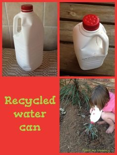 Outside Play: watering plants with a Recycled Watering can- love to be green!
