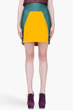 Hussein Chalayan Turquoise Colorblock Skirt for women | SSENSE