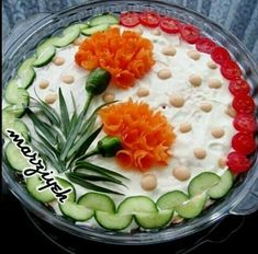 Edible flowers, meaning creative cold bowl ideas - Food Carving Ideas Cute Food, Good Food, Fingerfood Party, Food Garnishes, Garnishing, Food Carving, Vegetable Carving, Iranian Food, Food Decoration