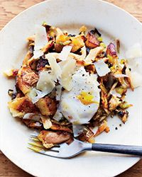 Chicken Hash with Eggs Recipe on Food & Wine - to make it paleo for my hubby, use sweet potato instead of baking potato and omit cheese topping! Perfect with hot sauce and some fresh herbs.