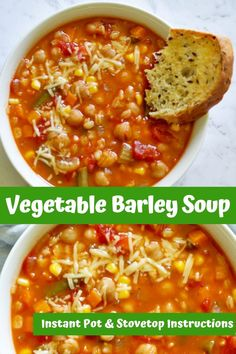 A warm and comforting vegetable barley soup that can be cooked in a pressure cooker, instant pot or stove top. Made with simple, everyday ingredients and ready in less than an hour whichever method you choose. Vegetable Barley Soup, Vegetable Soup Recipes, Veggie Soup, Easy Soup Recipes, Vegetarian Recipes, Healthy Recipes, Healthy Soups, Vegetarian Barley Soup, Pressure Cooker Vegetable Soup