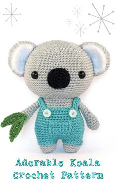 Amigurumi Koala Crochet PatternKoala bears are cute, their slow movements and soft fur make them absolutely adorable. Now you can make your very own koala wit Crochet Amigurumi Free Patterns, Crochet Animal Patterns, Crochet Bear, Stuffed Animal Patterns, Crochet Dolls, Crochet Animals, Crochet Stuffed Animals, Scarf Patterns, Crochet Granny