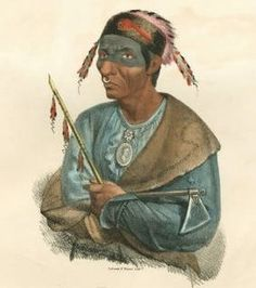 """James Otto Lewis--- """"Potawatomi/Pottowattomie Chief""""--- James Otto Lewis attended treaty council meetings in the Great Lakes region between 1825 and 1827 on a commission from the Indian Department. His portraits were to be distributed as hand coloured lithographs to subscribers in 10 installments with a subsequent circular recording his interviews of the native American Chiefs that sat for him."""