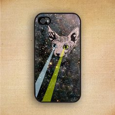 iPhone Cover Space Hipster Sphynx Cat Green Blue by CaseOddity, $15.99