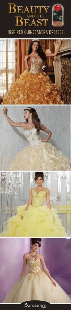 Be our guest and make your selection from these gorgeous tulle and satin creations, all available at QuinceDresses.com