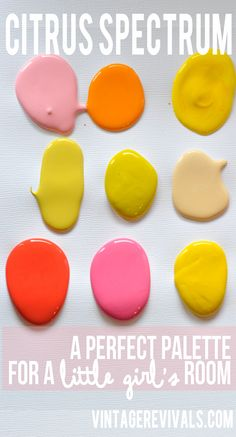 Citrus Spectrum Little Girls Room Palette -- Sherwin Williams (Pink Moment… Room Colors, House Colors, Paint Colors, Pantone, Palette Pastel, Citronella, Little Girl Rooms, Colour Schemes, Color Combos