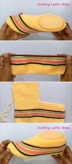 Women's Knit Slippers You Should Make Benzer Modeller: Super Easy Slippers to Crochet or to Knit Make a cozy pair of knit look slippers. slipper crochet patterns – crochet patte… Easy To Fold Slippers –. Easy Knitting, Loom Knitting, Knitting Stitches, Knitting Designs, Knitting Projects, Knitting Socks, Knitting Patterns, Crochet Patterns, Crochet Ideas