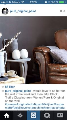 Vegg maling Black Truffle, Chalk Paint, Accent Chairs, Rest, Pure Products, The Originals, Wall, Painting, Furniture