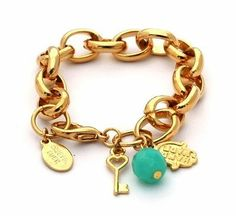 Gold Link Hamsa Bracelet and Charms for Good Luck and Love MIZZE Made for Luck Jewelry. $53.99. Standard size is 7 inches. Part of the Fashion Jewelry collection by MIZZE Jewelry - Made for Luck. A 24K plated link bracelet with Good Luck charms. Charms include the Hamsa Hand for good luck, turquoise crystal and a Key for love