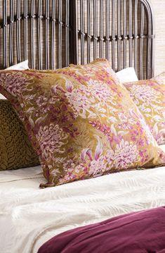 Giardino antique gold eurocase on the Nativo bedspread #antiquegold #printedeurocase #fuschia #floral #bedlinen