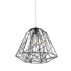 The Wright Stuff 1 Light Pendant Light is available in a black finish and ships with 10 feet of cable. http://www.ylighting.com/varaluz-wright-stuff-1-light-pendant-light.html