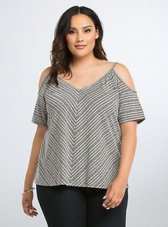 Striped Cold Shoulder Swing Tee, HEATHER GREY