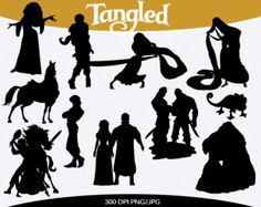Tangled Silhouette Clipart - Clipart Suggest Disney Silhouette Art, Disney Princess Silhouette, Silhouette Painting, Silhouette Cameo Projects, Disney Crafts, Disney Fun, Disney Games, Disney Themed Nursery, Disney Paintings