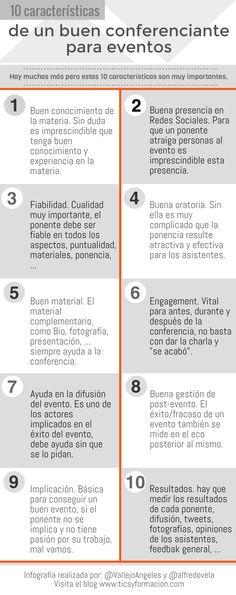 Hola: Una infografía con 10 características de un buen conferenciante para eventos. Infografía realizada con Piktochart. Un saludo