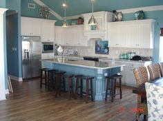 Beach House Decorating | 5 Beachy Blue Coastal Kitchens | http://nauticalcottageblog.com
