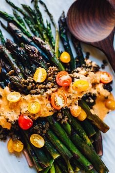 Roasted Asparagus with Romesco Sauce & Lentils (Vegan, Gluten Free) — Will Frolic for Food - roasted asparagus with romesco sauce and french lentils Whole Food Recipes, Cooking Recipes, Healthy Recipes, Lentil Recipes, French Vegetarian Recipes, Healthy Options, French Lentils, Clean Eating, Healthy Eating