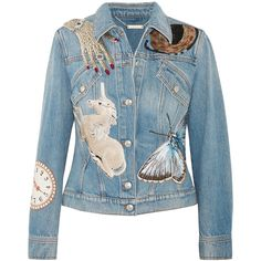 Alexander McQueen Sequin-embellished embroidered denim jacket (1.976.320 CLP) ❤ liked on Polyvore featuring outerwear, jackets, mid denim, blue sequin jacket, embroidery jackets, jean jacket, embroidered denim jackets and alexander mcqueen jacket
