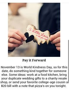 Nov world kindness day ! Girl Scout Badges, Girl Scouts, World Kindness Day, Pay It Forward, Random Acts, Some Ideas, Something To Do, Charity, Wedding Gifts