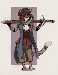 Kitty cat sell sword time. Vaguely inspired by both khajiit and Kiro from my Harvest story. She lost her eye a little while back, spends her days wandering the roads, surveying the villages and local ales, and sleeping under the stars or in a bunk...