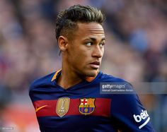 Neymar JR of Barcelona looks on during the La Liga match between FC  Barcelona and Atletico