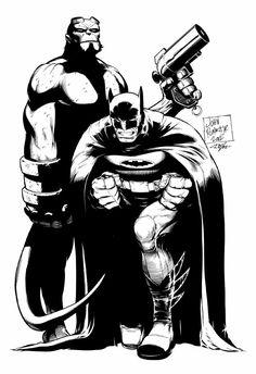 Batman & Hellboy by John Romita Jr & John Dell
