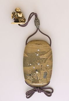 Shibayama Shokasai (Japan, born active early 19th century)   Inro, Ojime, Netsuke, early 19th century  Costume/clothing accessory/waistwear, Four-case inro with courtier design in gold takamakie and kirigane on kinji and nashiji ground with mother-of-pearl and ivory inlay; metal ojime; ivory karako on hobby horse netsuke