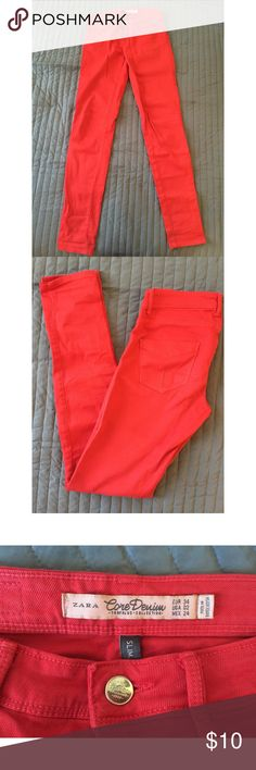 Classic Red Denim Jeans (Pants) - US 2/EUR 34 Red denim pants with stretch and skinny leg.  Very comfortable and soft with classic pockets.   The red is not too bright and not too dark.  These pants are very comfortable to wear and looks great on!  A great summer addition to your closet. Zara Jeans Skinny