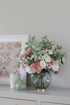 Dining Room Mood Board Reveal - Swoon Worthy Faux flower bouquet from Honey & Lilly with roses and g Artificial Flower Arrangements, Vase Arrangements, Artificial Flowers, Creative Flower Arrangements, Fake Flowers, Beautiful Flowers, Flowers Vase, Rose Vase, Flower Boxes
