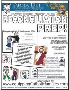 Reconciliation Prep Craft Kit with Sneak Peek Sheets with Act of Contrition(s), Examination of Conscience and format of confession. Good for a refresher for older kids too!