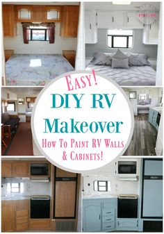 Easy RV Makeover with instructions to remodel RV interior, paint RV walls, paint 2 tone kitchen cabinets! ad Easy RV Makeover with instructions to remodel RV interior, paint RV walls, paint 2 tone kitchen cabinets! Camping Checklist, Rv Camping, Glamping, Camping Games, Camping Essentials, Camping Style, Camping Theme, Camping Survival, Remodel Caravane
