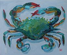 Whimsical original crab and lobster paintings, as seen in House Beautiful… Crab Painting, Crab Art, Coastal Art, Beach Art, Beach Room, Fauna, Sea Creatures, Painting Inspiration, Color Inspiration