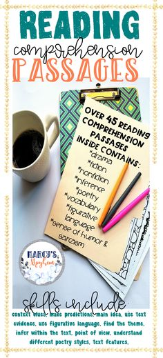 Distance Learning Reading Comprehension Printable packets for grade Reading Comprehension Strategies, Reading Passages, Reading Fluency, Middle School Reading, 5th Grade Reading, Similes And Metaphors, Text Evidence, Creative Teaching, 5th Grades