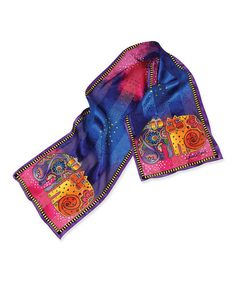 Take a look at this Blue Kindred Felines Oblong Silk Scarf by Laurel Burch on #zulily today! $15 !!