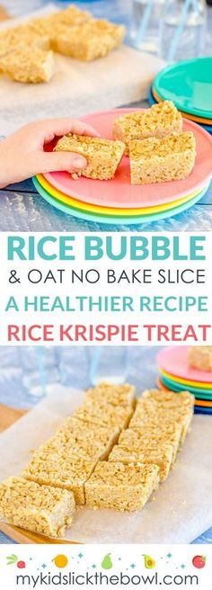 No Bake Rice Bubble Oat Slice. – No-bake rice bubble oat slice a healthy Rice Krispie treat recipe for kids – - Lombn Sites Baby Food Recipes, Gourmet Recipes, Baking Recipes, Snack Recipes, Baking Snacks, Yummy Snacks, Fudge Recipes, Candy Recipes, No Bake Kids Recipes