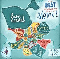 Un mapa de los distritos de Madrid con un bonito diseño ¡Feliz fin de semana amigos! www.barriosdemadrid.net