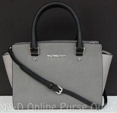 Michael Kors Colorblock Saffiano Leather Selma Medium TZ Satchel Purse Bag ~Grey #MichaelKors #TotesShoppers