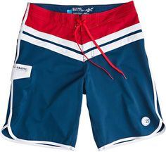 Retro style red, white and blue boardshort