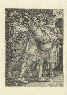 Twee muzikanten en een meisje, Hans Sebald Beham, 1510