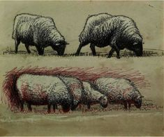 Sheep Grazing, Oil by Henry Moore (1898-1986, United Kingdom)