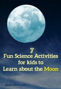 7 fun science activities for kids to learn about the moon -- Do you know why we always see the same face of the moon? What are moon phases? How does moon rotate? Learn interesting STEM facts through fun outdoor activities for kids in summer spring fall. Science Projects For Kids, Science Activities For Kids, Preschool Science, Elementary Science, Science Classroom, Teaching Science, Science Ideas, Outdoor Activities, Space Activities