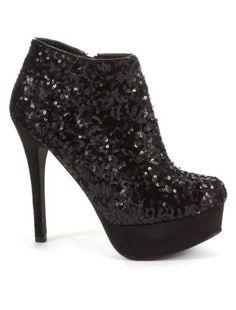 Black Sequin Platform Ankle Boots