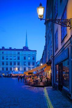 Stortorget Square Cafes at Dusk, Gamla Stan, Stockholm, Sweden