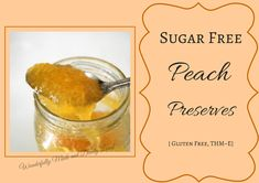 Summertime means peaches a plenty. These Sugar Free Peach Preserves will keep that summertime freshness all year-long without added sugars. Thm Recipes, Healthy Eating Recipes, Canning Recipes, Potato Recipes, Vegetable Recipes, Drink Recipes, Vegetarian Recipes, Healthy Food, Recipies