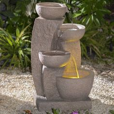 Jeco Multi-Tier Textured Bowls Indoor/Outdoor Fountain with LED Light