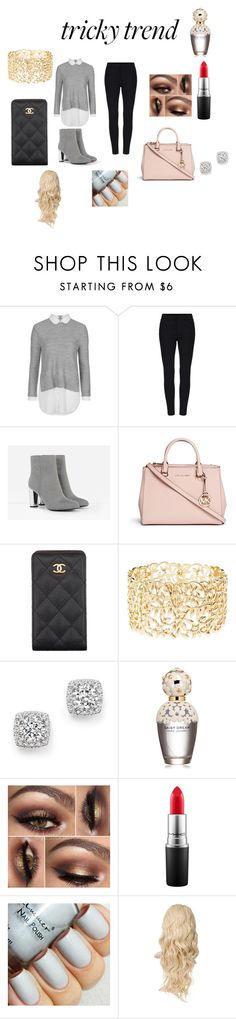 """""""High-Neck Blouse Girly Style"""" by fashionistagirl9898 on Polyvore featuring Topshop, CHARLES & KEITH, Michael Kors, Chanel, Charlotte Russe, Bloomingdale's, Marc Jacobs, MAC Cosmetics, women's clothing and women's fashion"""