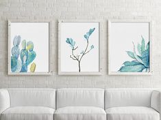 Watercolor Succulents, Set of 3 Prints, Green & Blue Plant Drawing, Minimalist Illustration, Botanical Wall Decor, Cactus Aloe Vera, Leaves Important information for all prints: 1. The prices can be found over on the right in the dimensions drop down bar. I offer US and EU