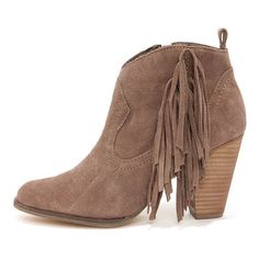 Steve Madden Ponncho Taupe Suede Fringe Ankle Boots ($103) ❤ liked on Polyvore
